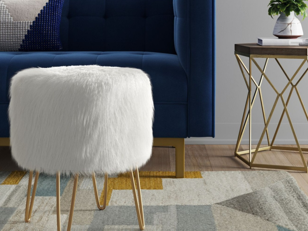 Project 62 Radovre Hairpin Ottoman Faux Fur White