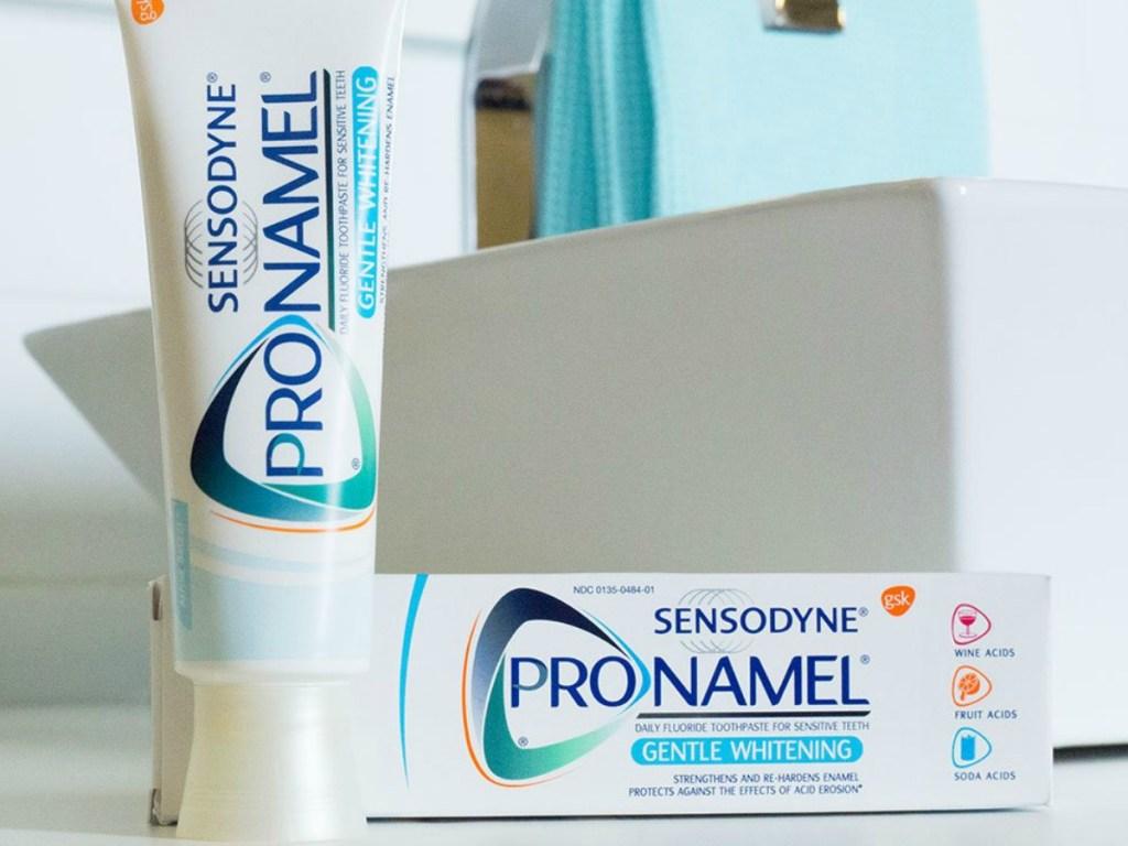 Sensodyne Pronamel toothpaste in the bathroom