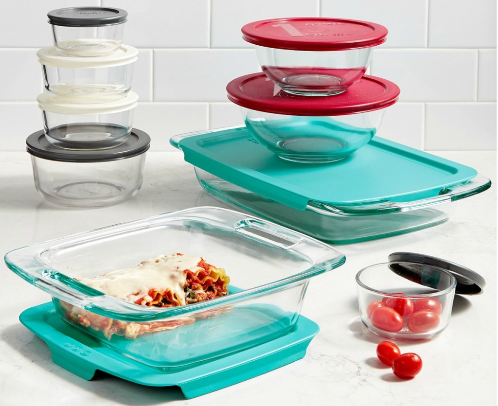 Large Pyrex food storage set with colorful coordinating tops
