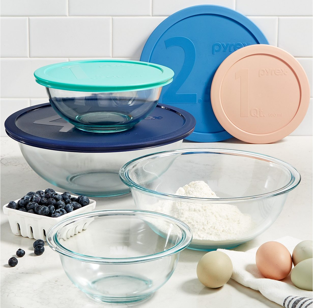 Pyrex Mixing Bowls in Kitchen