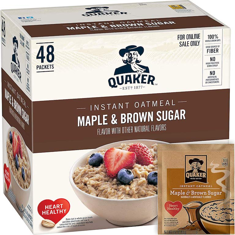 Quaker Maple & Brown Sugar Instant Oatmeal 48-Count in the box