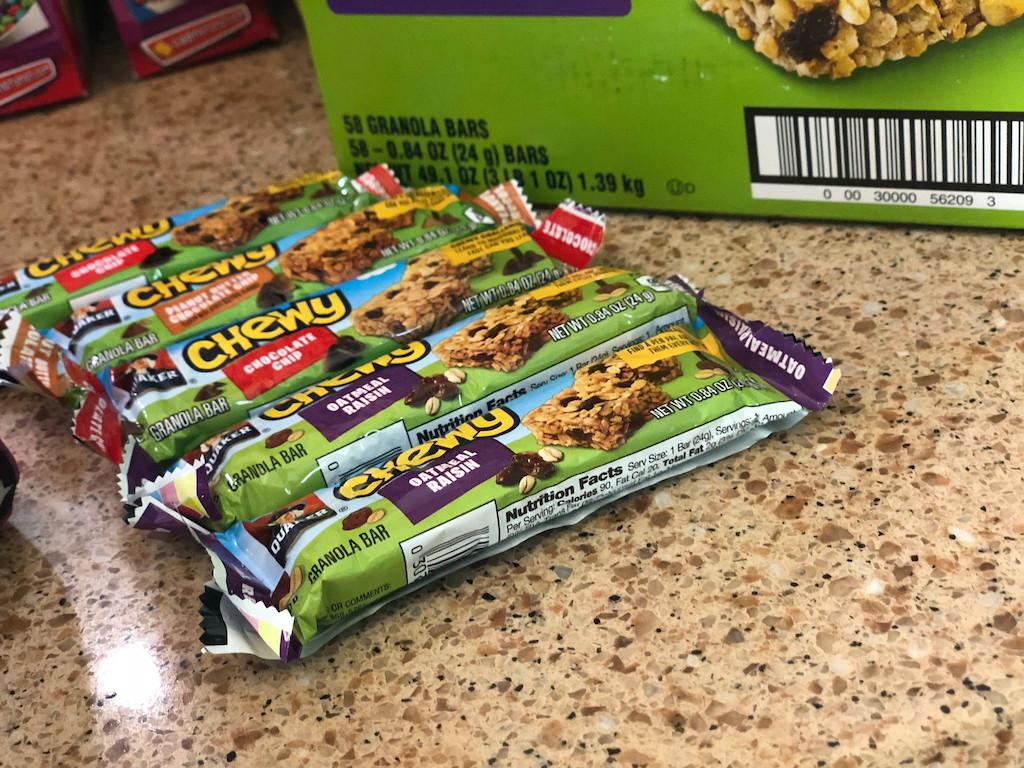 Quaker granola bars on counter