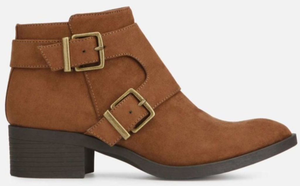 Side shot of brown Re-Buckle Suede Strap Boot with Block Heel
