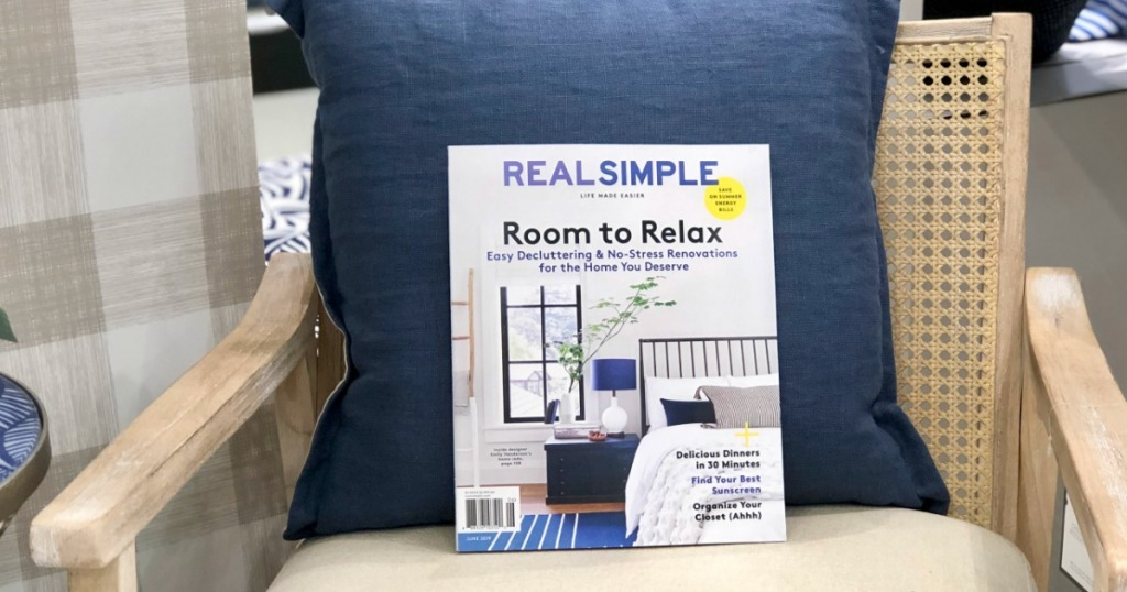 Real Simple magazine on chair