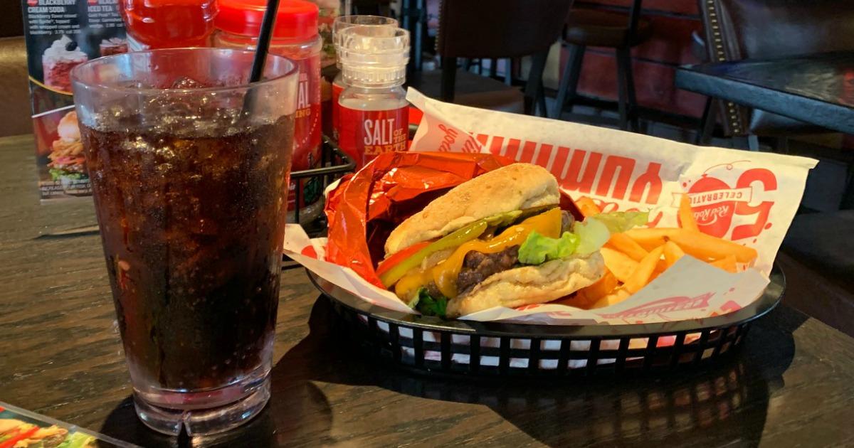 red Robin Burger basket next to drink