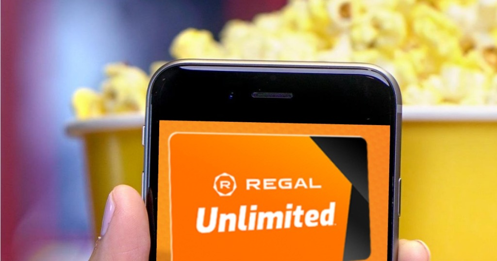 Regal Unlimited showing on smartphone app