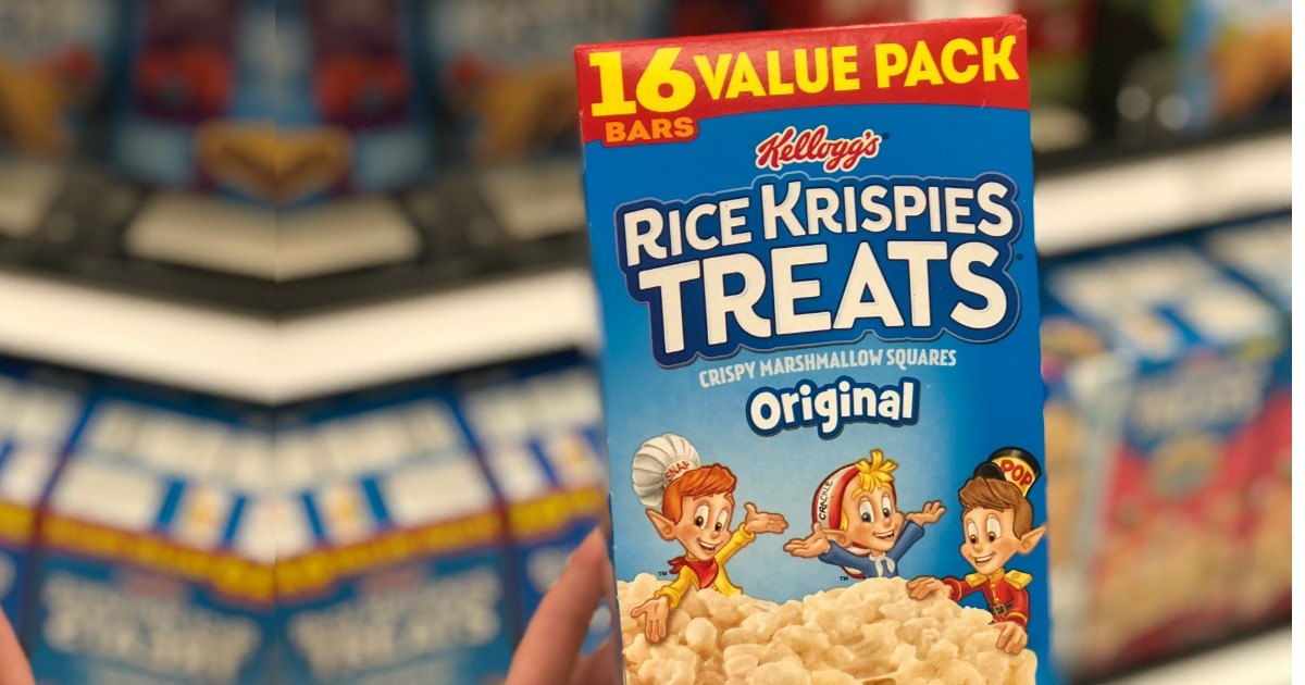 Person holding up Rice Krispies Treats Value Pack in store aisle