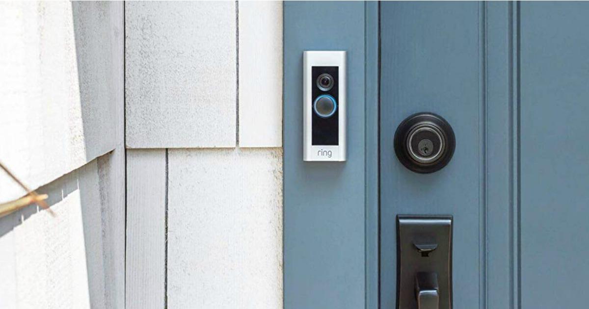 Ring Video Doorbell on house next to blue door
