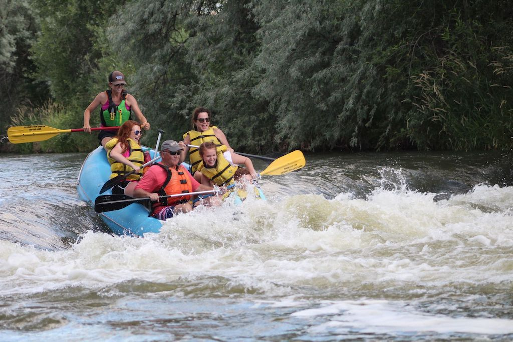 River Rafting with people in the boat