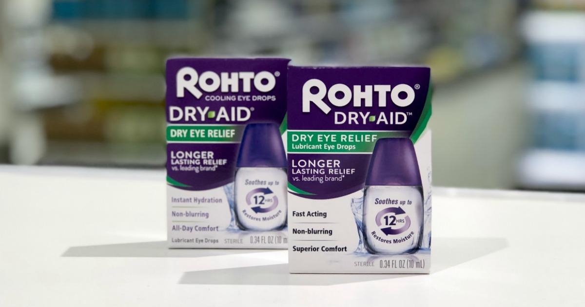 Rohto Eye Drops on table at Target