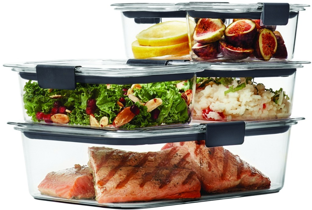 10-piece set of clear Rubbermaid food storage containers with grilled salmon and sides