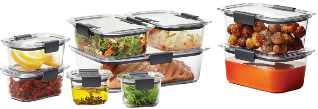 18-piece clear food storage containers from Rubbermaid