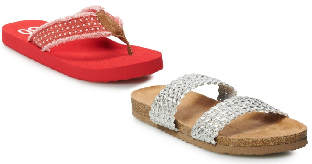 so sandals red and silver