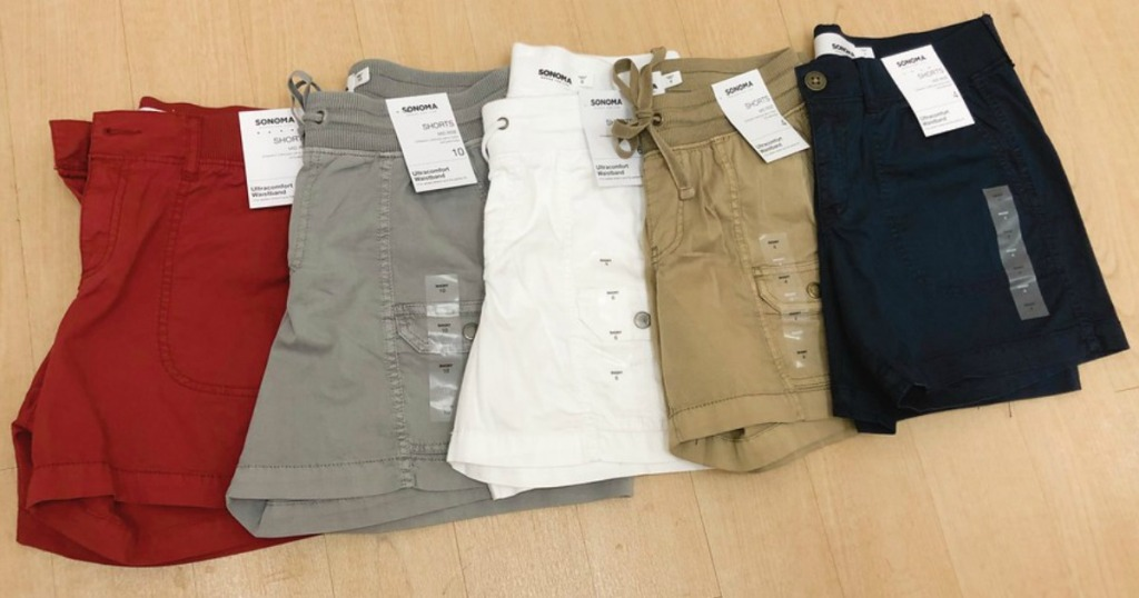 five pairs SONOMA Goods for Life Front Pocket Shorts laid out