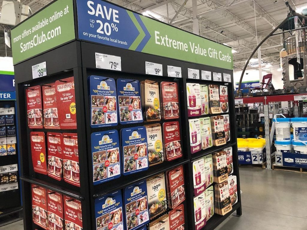 Sam's Club gift card wall in store