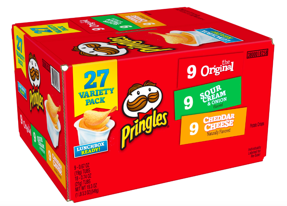 box full of 27 Pringles chips in various flavors