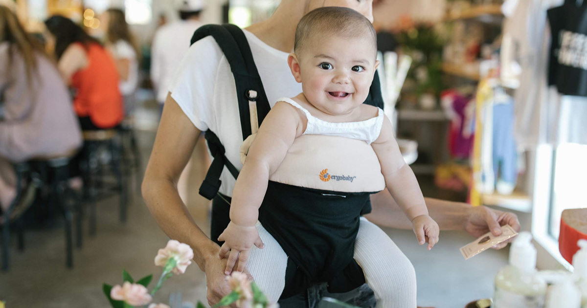 baby in a Shadow Black 360 All-Position Baby Carrier