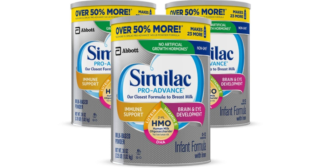 3 canisters of similac formula