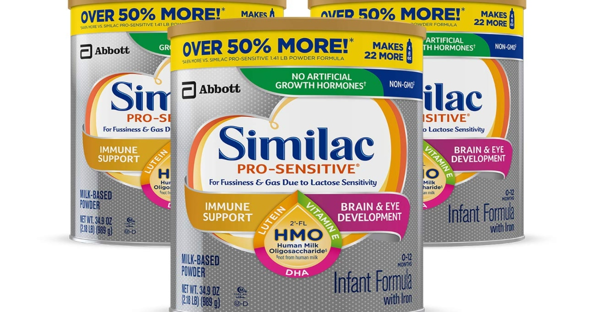 three canisters of Similac Pro Sensitive
