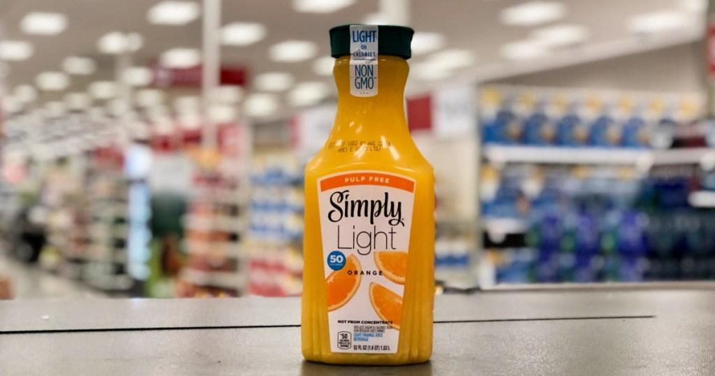 Simply Light Orange Juice on shelf in target