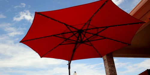 Patio Umbrella w/ Rechargeable LED Lights Only $198 at Lowe's (Regularly $398) | Includes Frame & Base