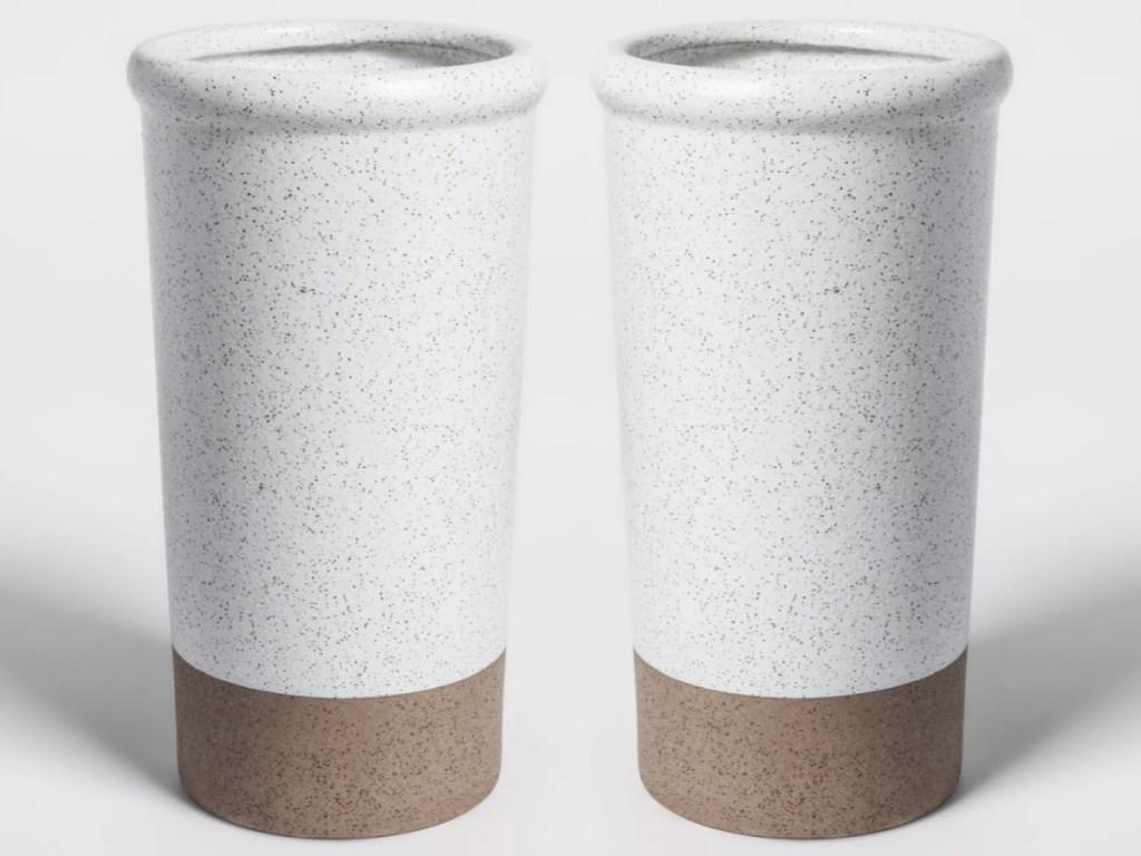two Smith & Hawken Large Stoneware Vase Speckled Glaze