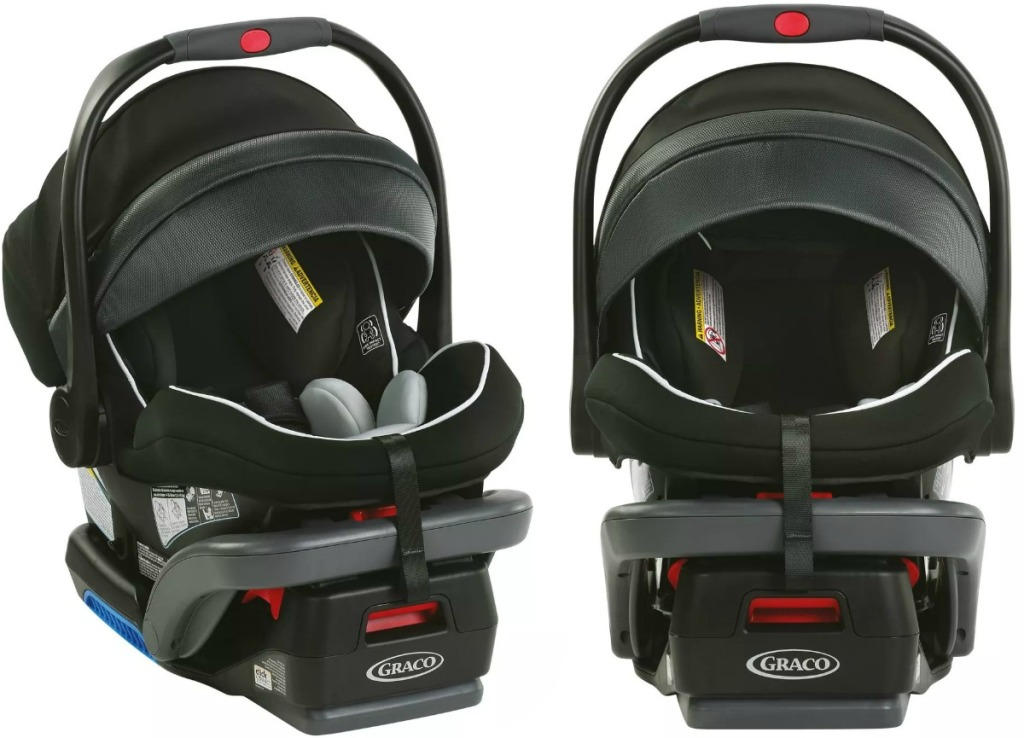 Black Graco Infant Car Seat at two different angles