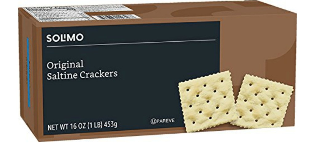 box of Solimo Saltine Crackers