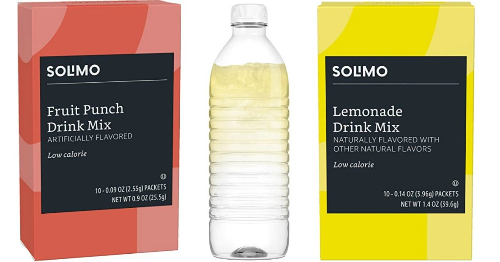 two boxes of Solimo Drink Packets on either side of a bottle of water