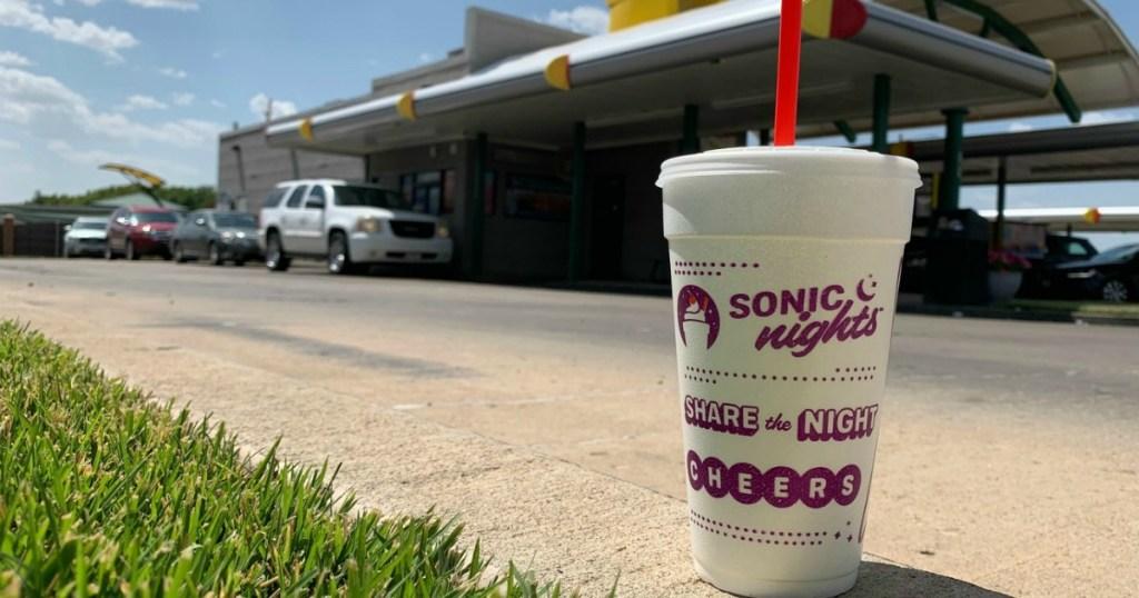 Sonic drink in front of restaurant