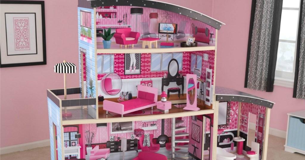 Sparkle Mansion Dollhouse set up in girl's room