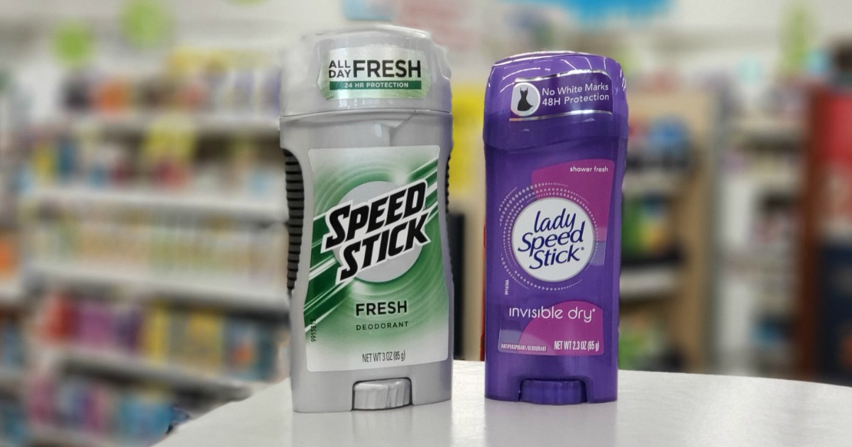 Speed Stick deodorants on counter at a store