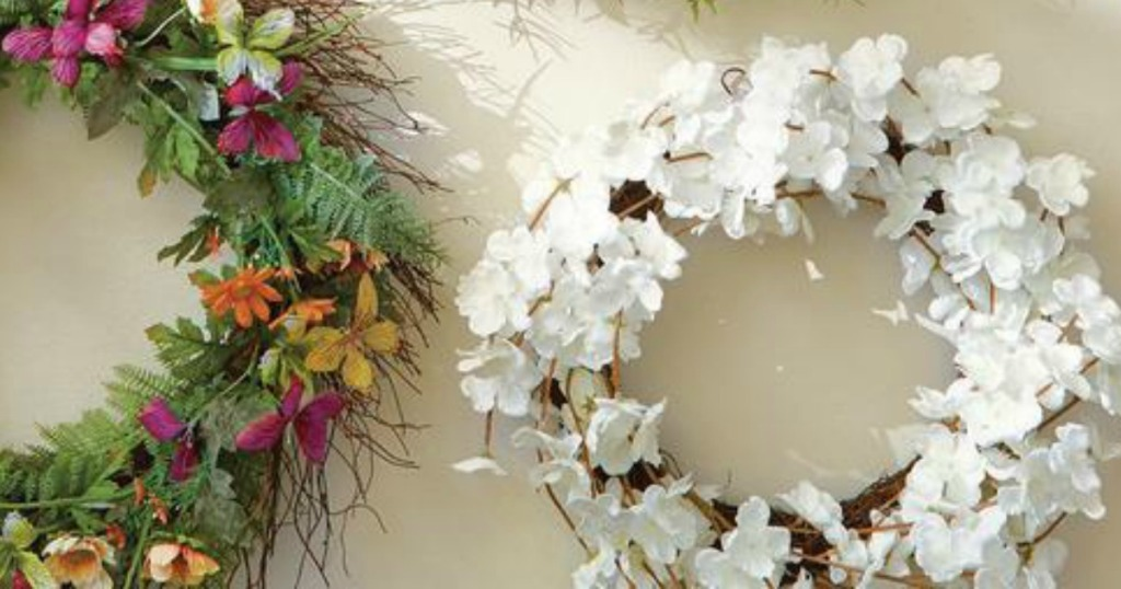 Floral wreaths at Home Depot