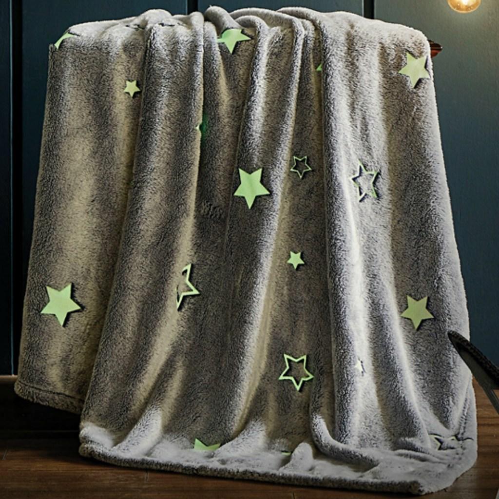 grey star-print throw blanket