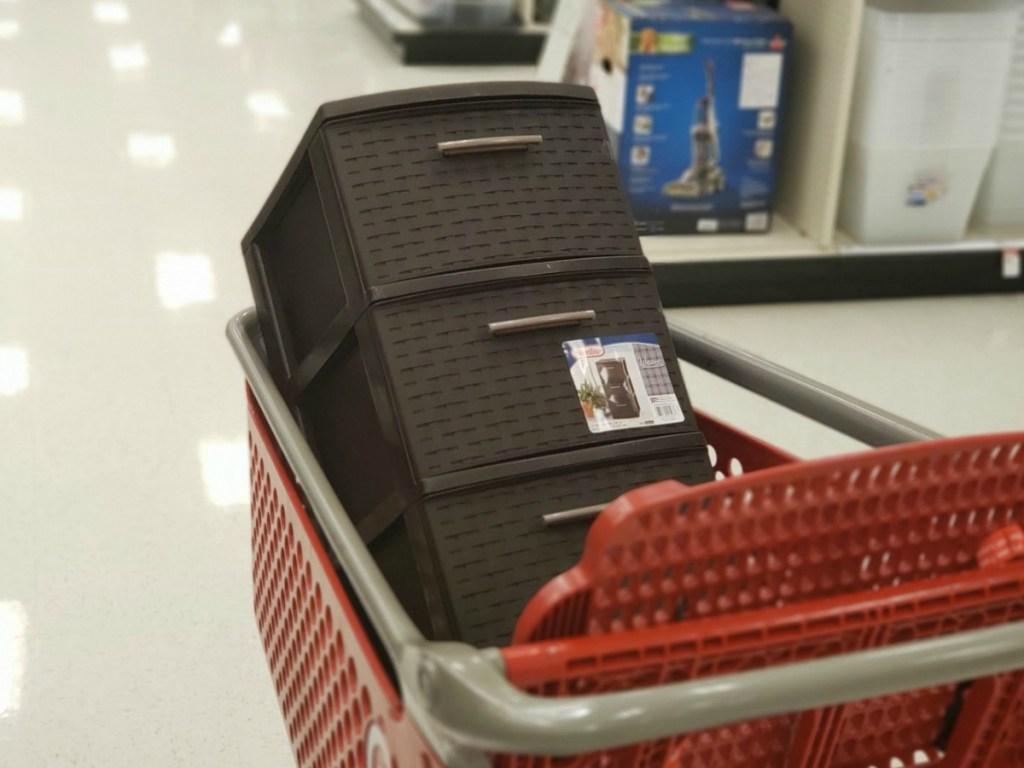 3-drawer storage shelves in target cart in store
