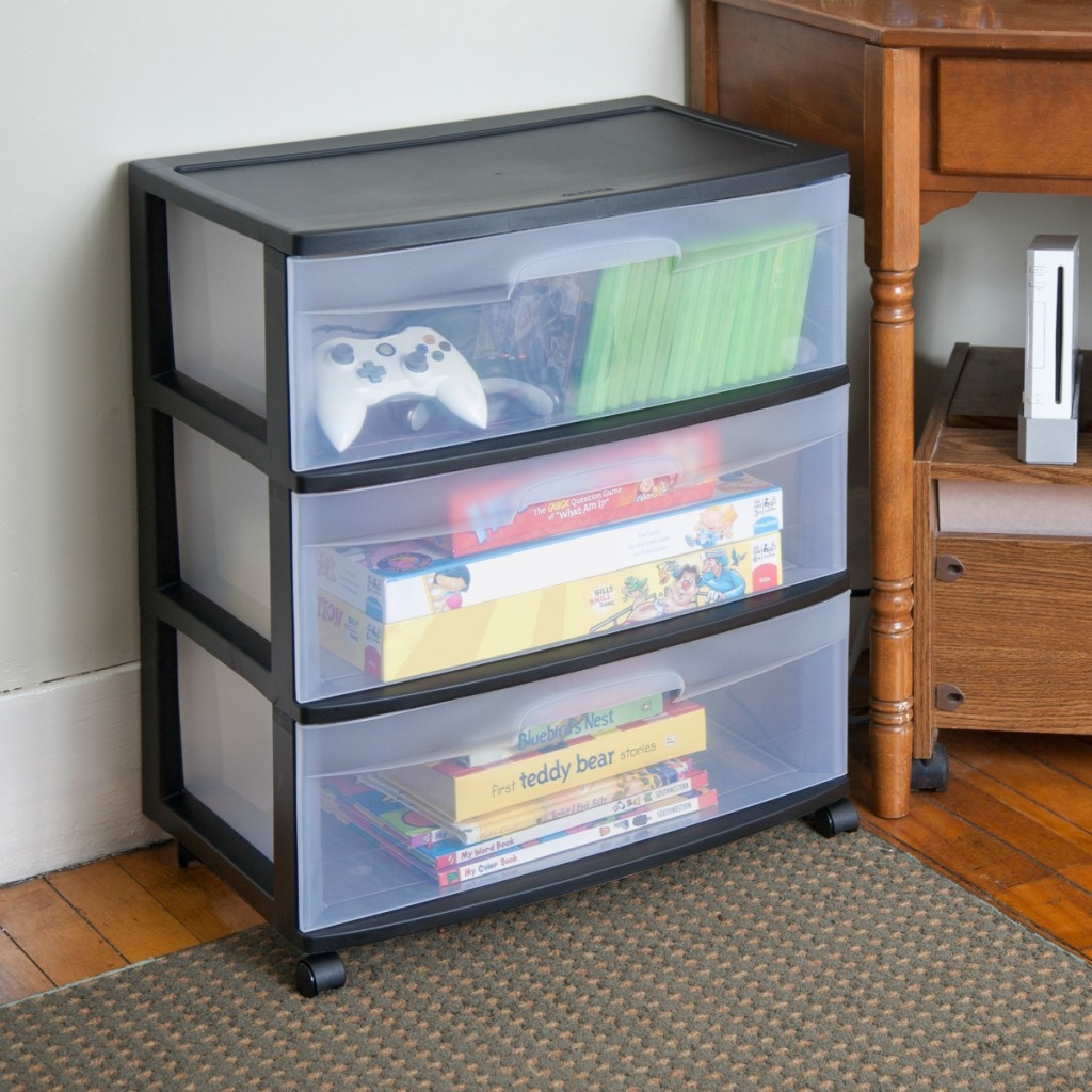 clear and black storage cart with wide plastic drawers
