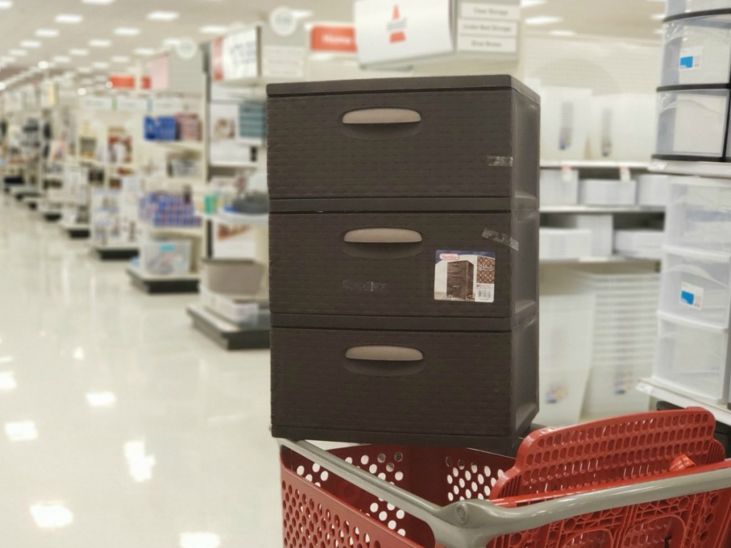 3-drawer weaved storage unit on target cart in store