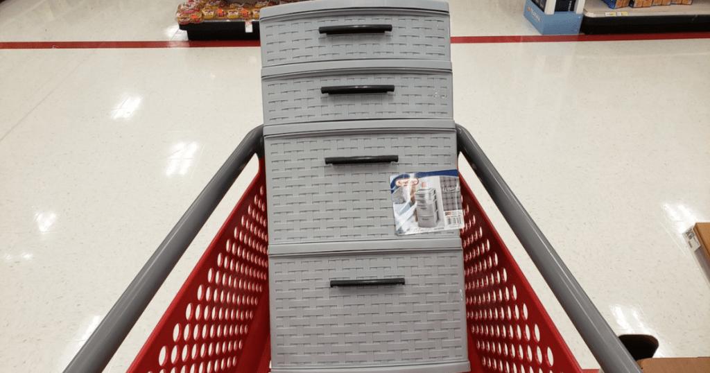 Sterilite Storage Tower in Target shopping cart
