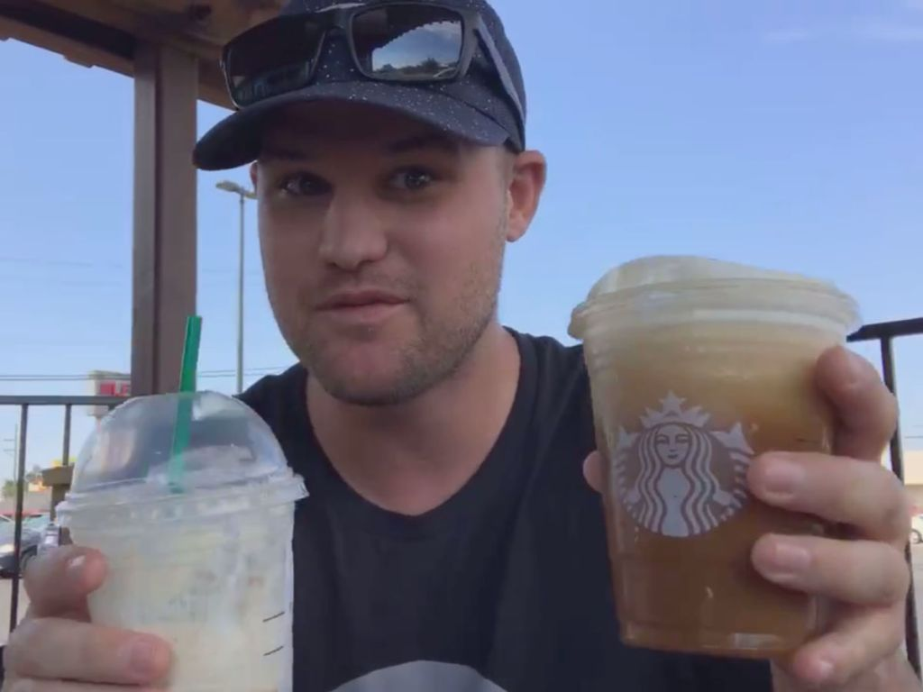 Stetson with two starbucks cups