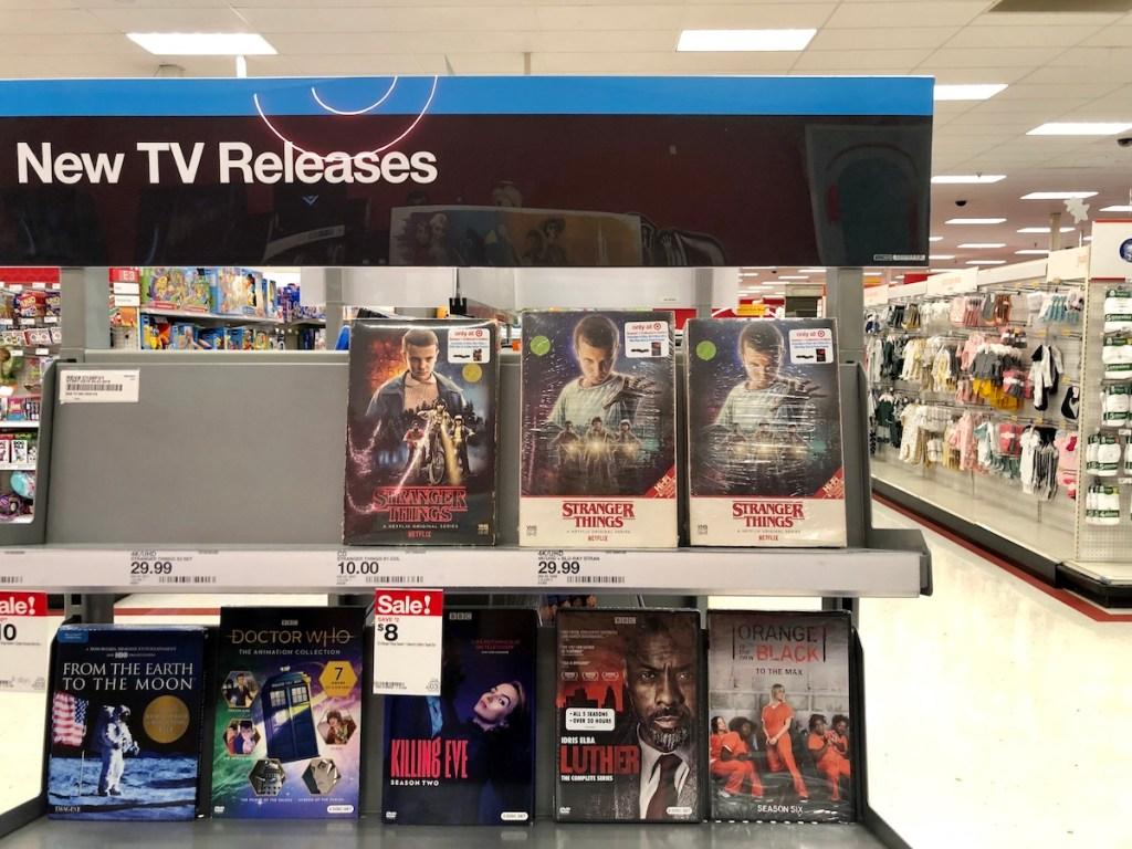 Stranger Things movies on shelf at Target
