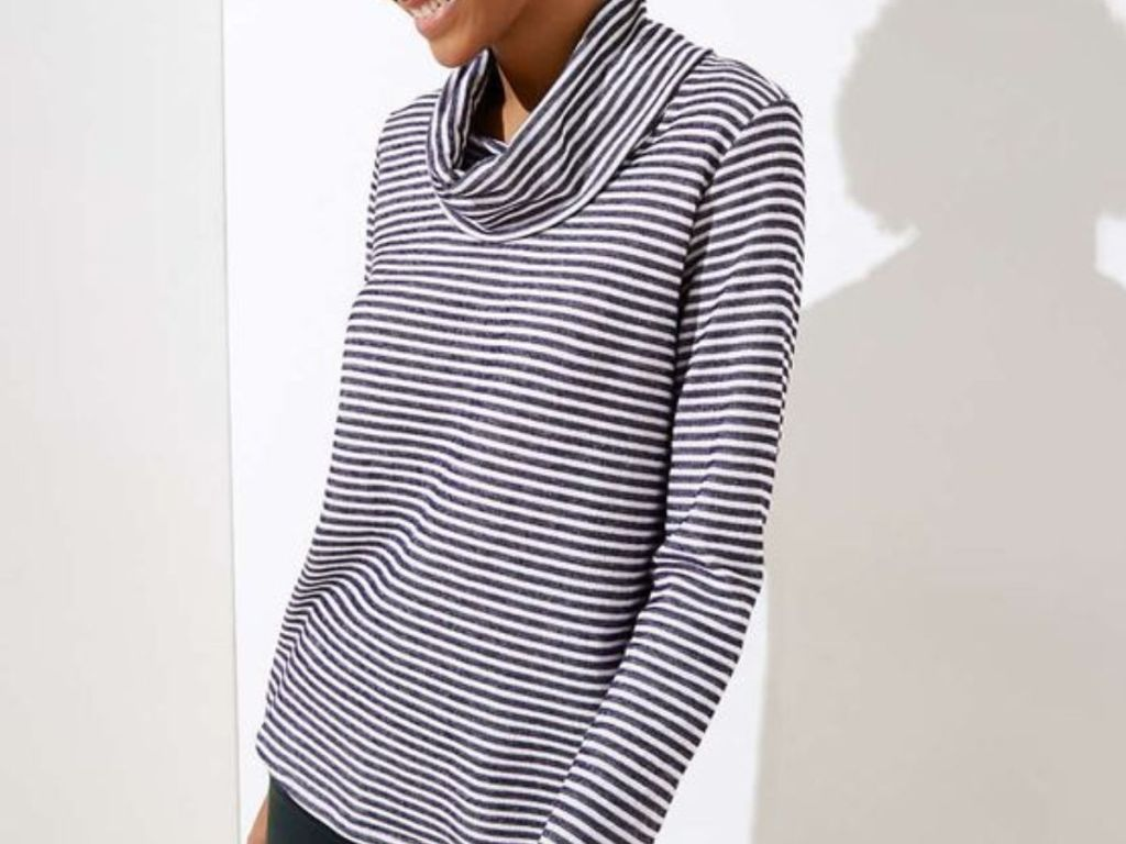 Striped Knit Cowlneck Top