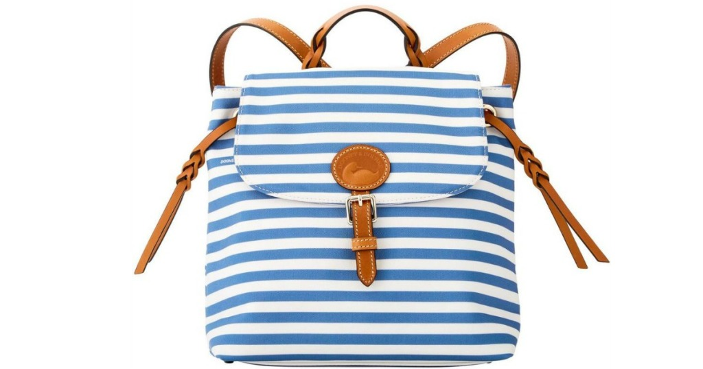 blue and white striped dooney & Bourke Sullivan Backpack