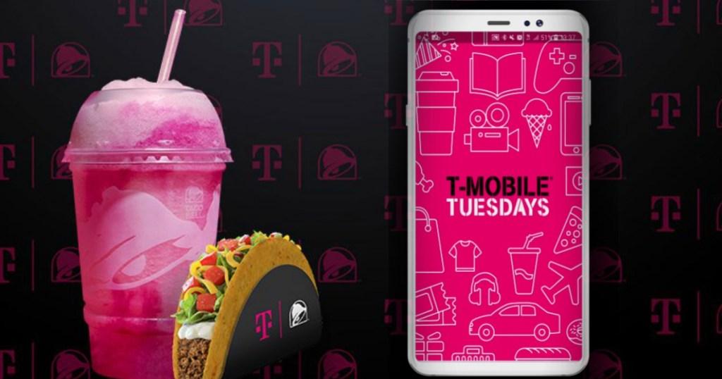 minuman beku merah muda dan taco cangkang keras di sebelah ponsel dengan selasa t-mobile di layar