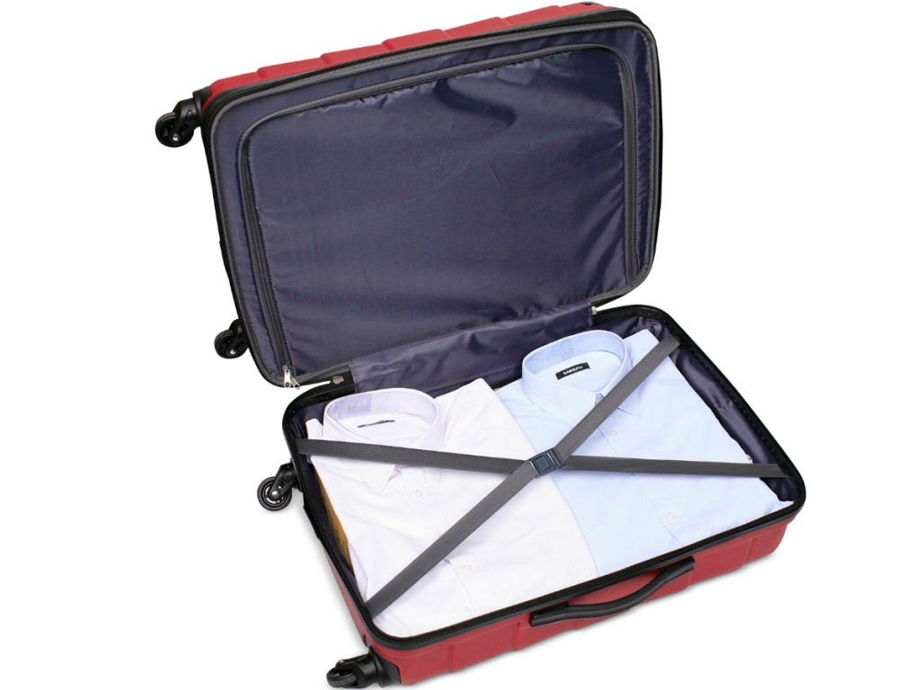 Tag hardside spinner open with compartments showing