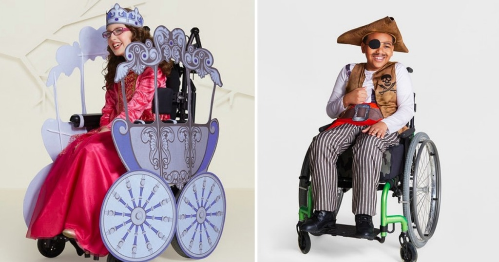 Girl and boy in wheelchairs wearing Target's Adaptive line of Halloween costumes