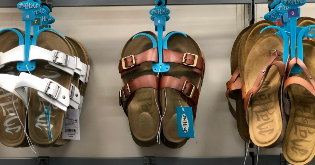 Women's sandal shoes display