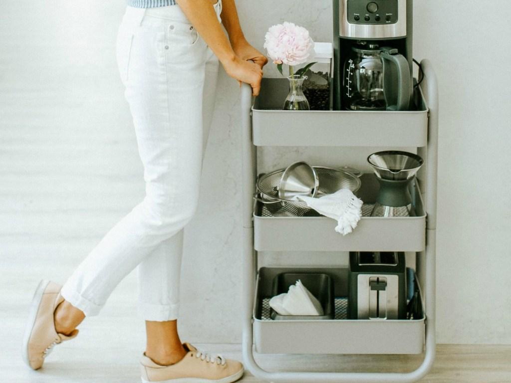 Metal 3-drawer cart used in kitchen