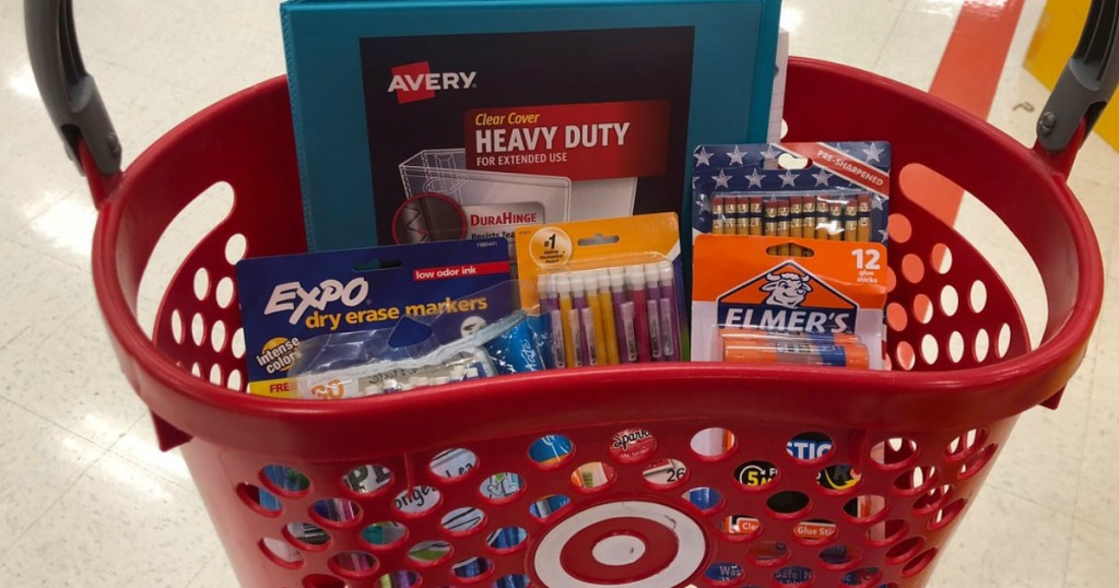 target basket filled with school supplies