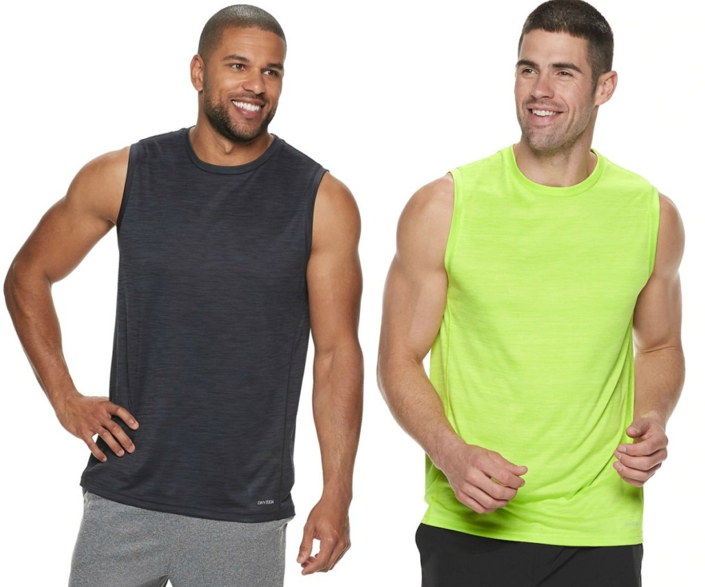 Two men wearing active tanks from Kohl's