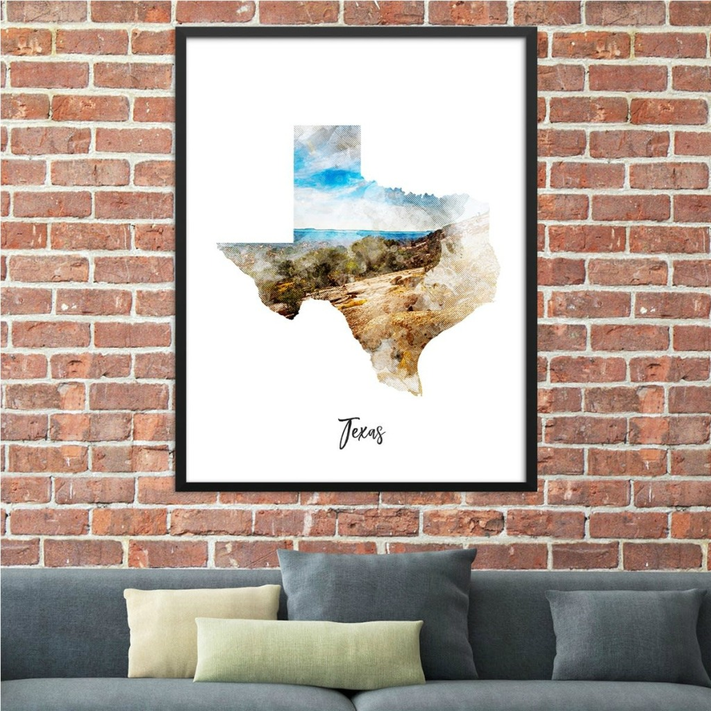 Texas watercolor Map hung over couch
